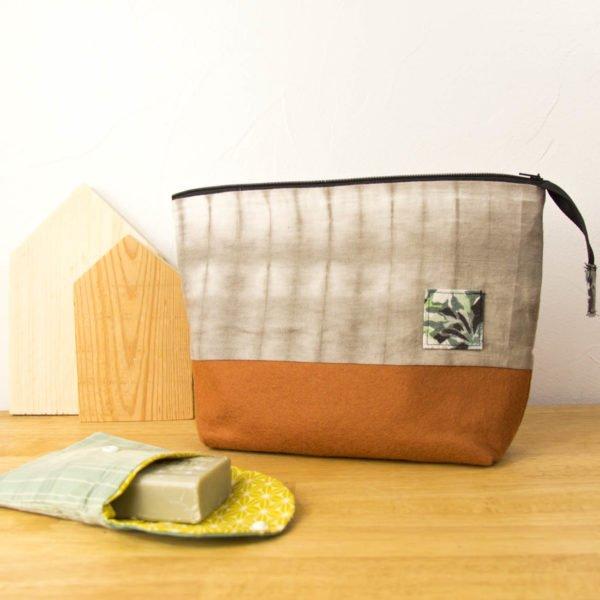 Trousse de toilette – Shibori à l'aulne et petit carré